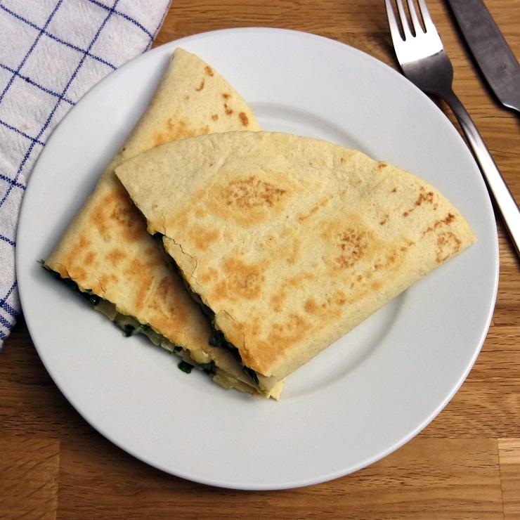 Quesadillas mit Spinat & Cheddar Käse