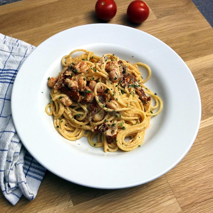 Schnelles Nudelrezept: Spaghetti mit Flusskrebsen und getrockneten Tomaten